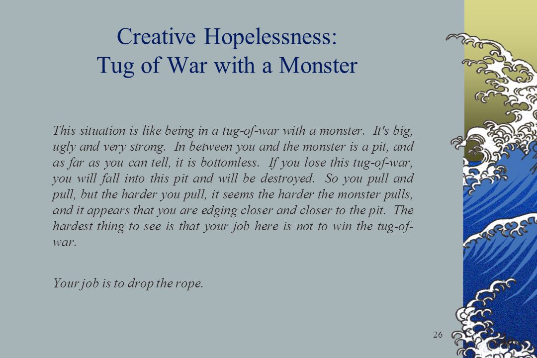 Creative Hopelessness: Tug of War with a Monster