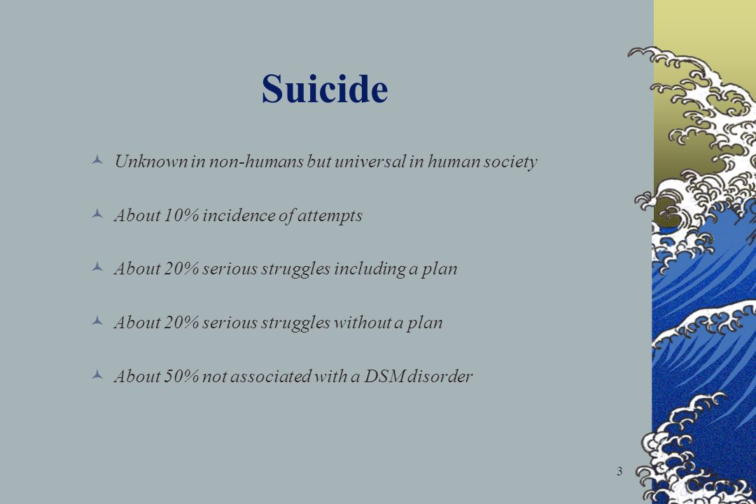 Suicide Unknown in non-humans but universal in human society
