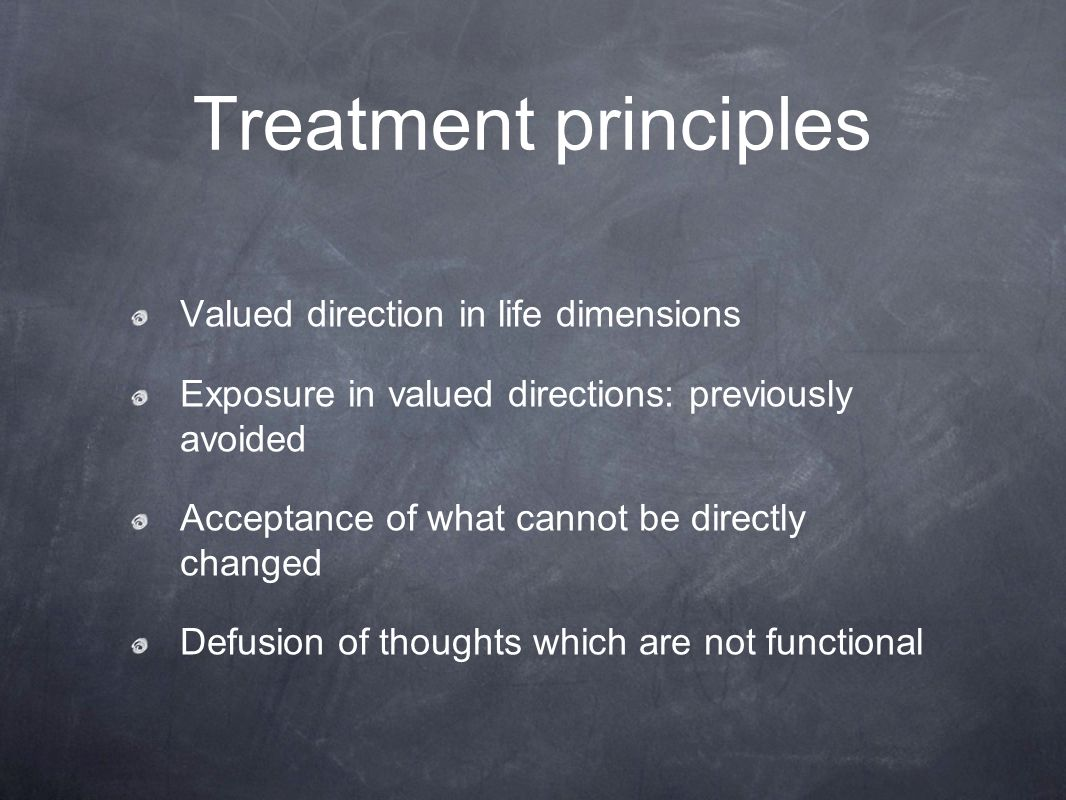 Treatment principles Valued direction in life dimensions