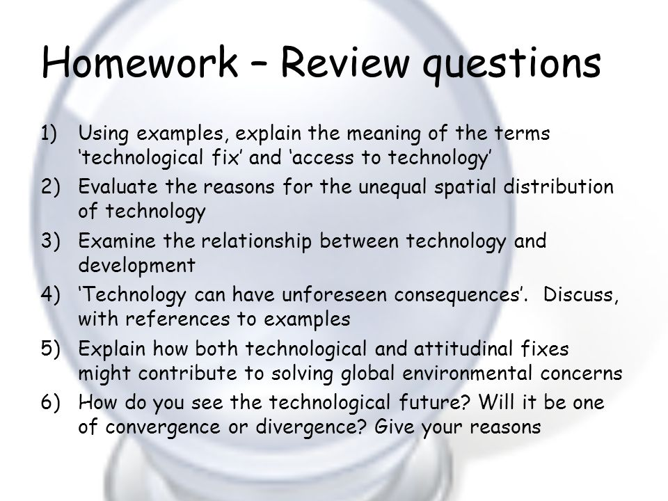 Homework – Review questions
