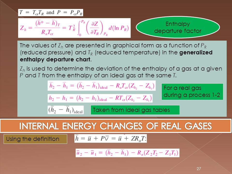 INTERNAL ENERGY CHANGES OF REAL GASES
