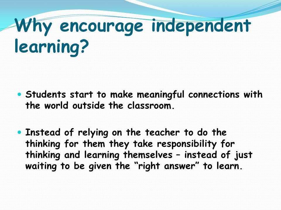 Why encourage independent learning