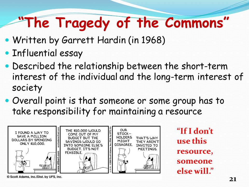 the tragedy of the commons by garrett hardin essay The tragedy of the commons author(s): garrett hardin source: science, new series, vol 162, no 3859 (dec 13, 1968), pp 1243-1248 published by: american association for the advancement of science.