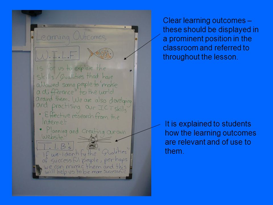 Clear learning outcomes – these should be displayed in a prominent position in the classroom and referred to throughout the lesson.