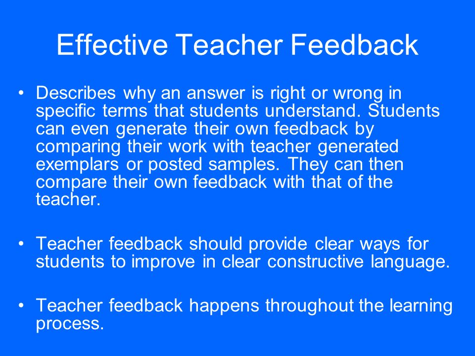 Effective Teacher Feedback