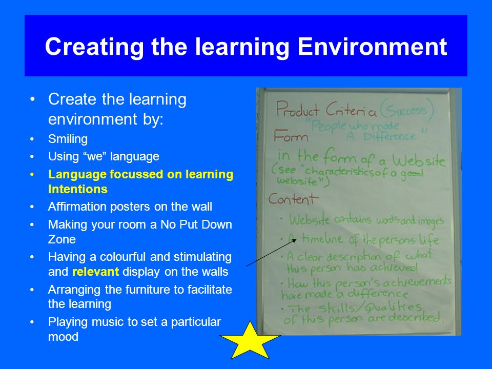 Creating the learning Environment