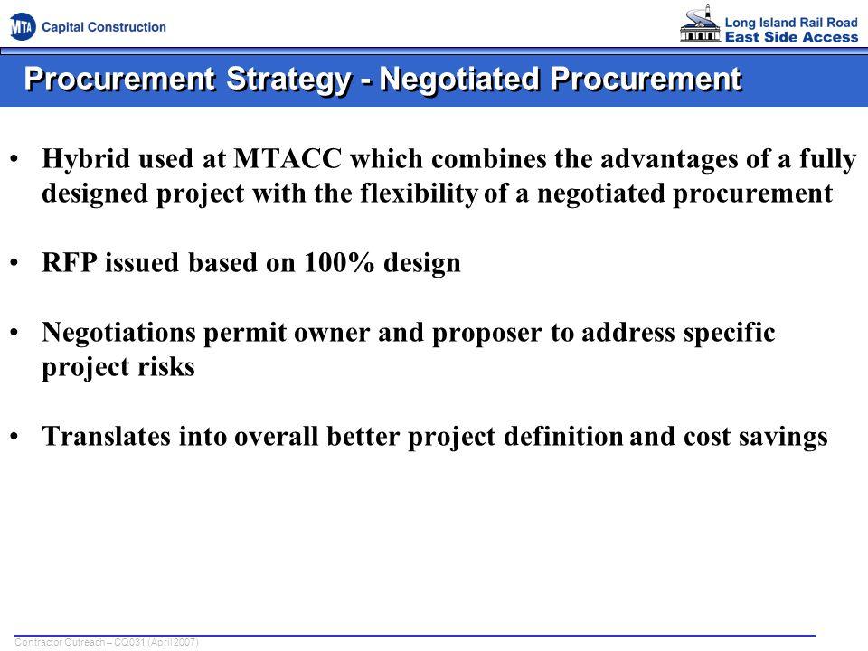 Procurement Strategy - Negotiated Procurement