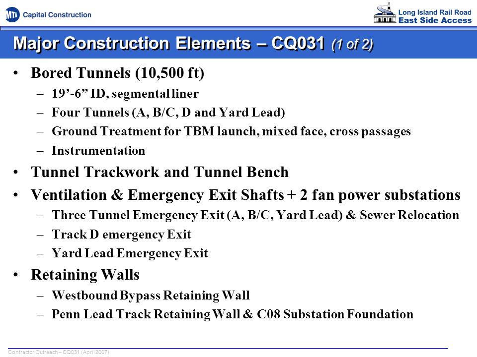Major Construction Elements – CQ031 (1 of 2)