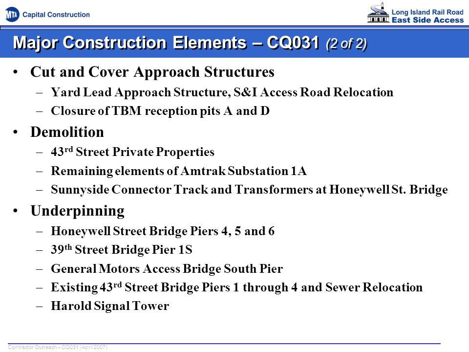 Major Construction Elements – CQ031 (2 of 2)