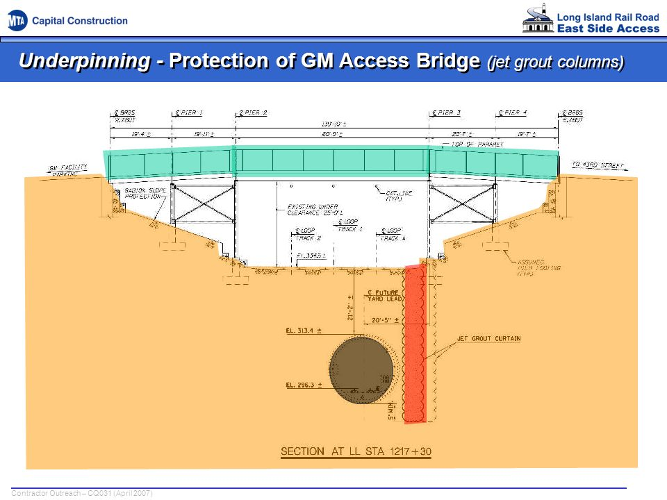 Underpinning - Protection of GM Access Bridge (jet grout columns)