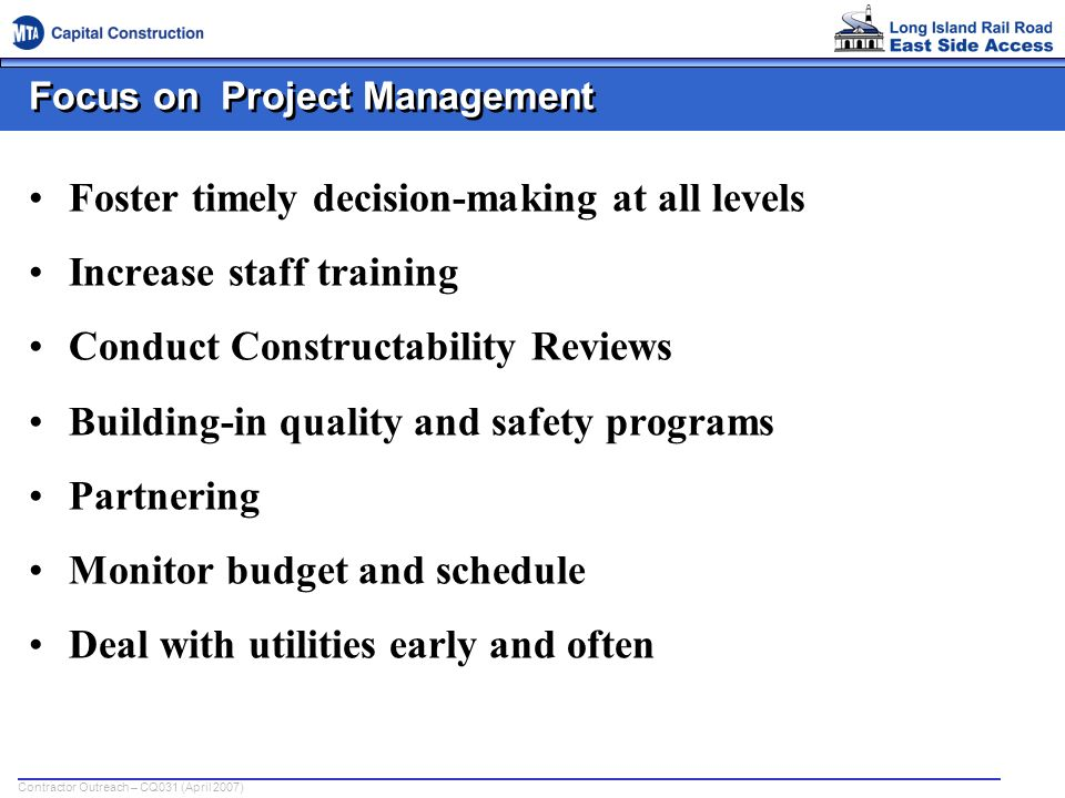 Focus on Project Management