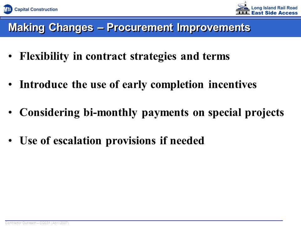 Making Changes – Procurement Improvements