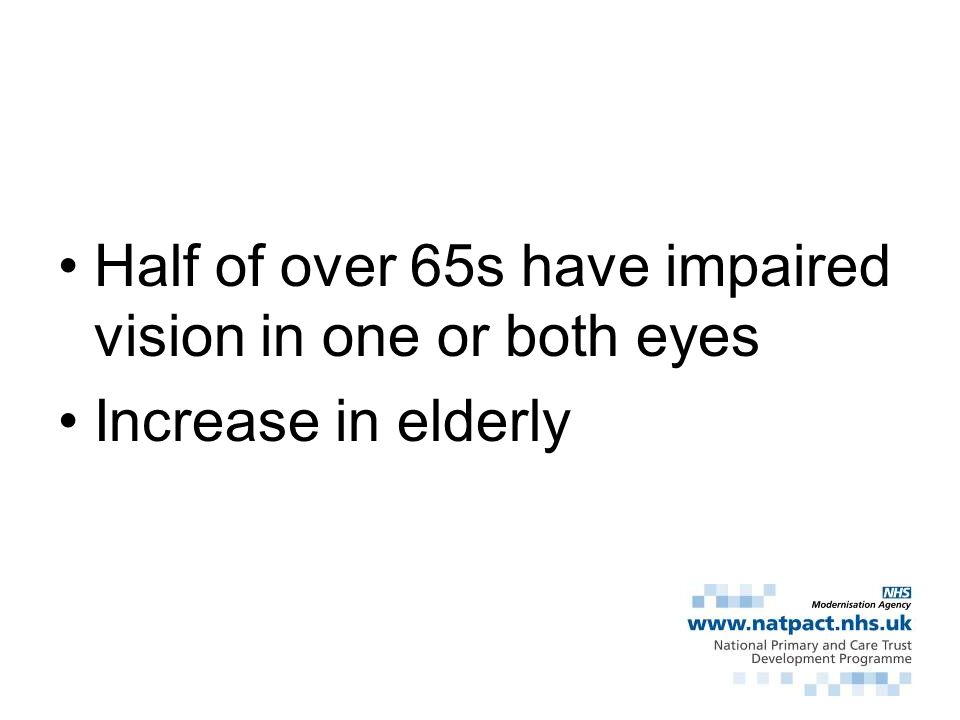 Half of over 65s have impaired vision in one or both eyes