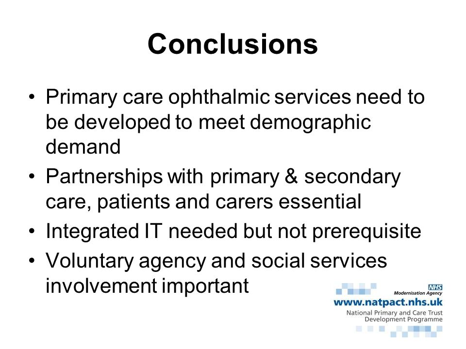 Conclusions Primary care ophthalmic services need to be developed to meet demographic demand.