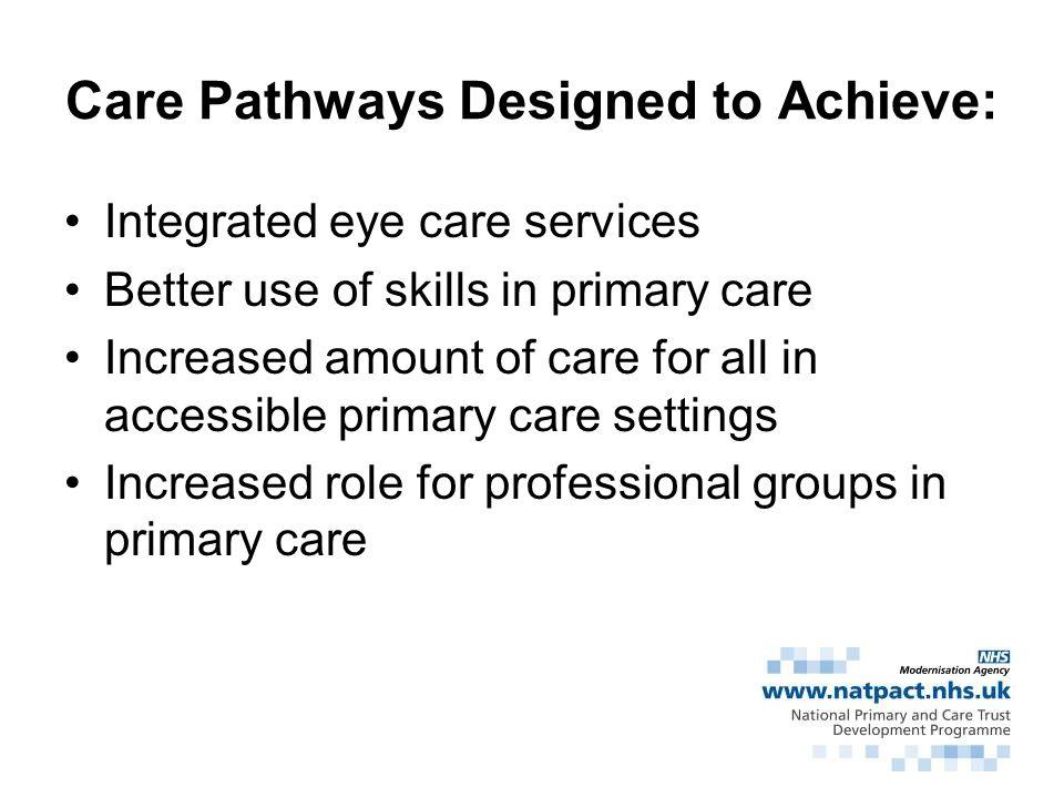 Care Pathways Designed to Achieve: