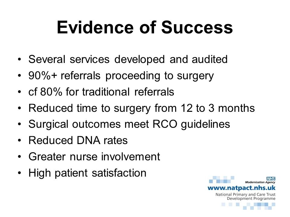 Evidence of Success Several services developed and audited