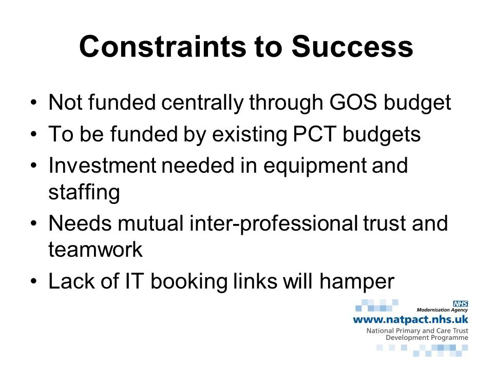 Constraints to Success
