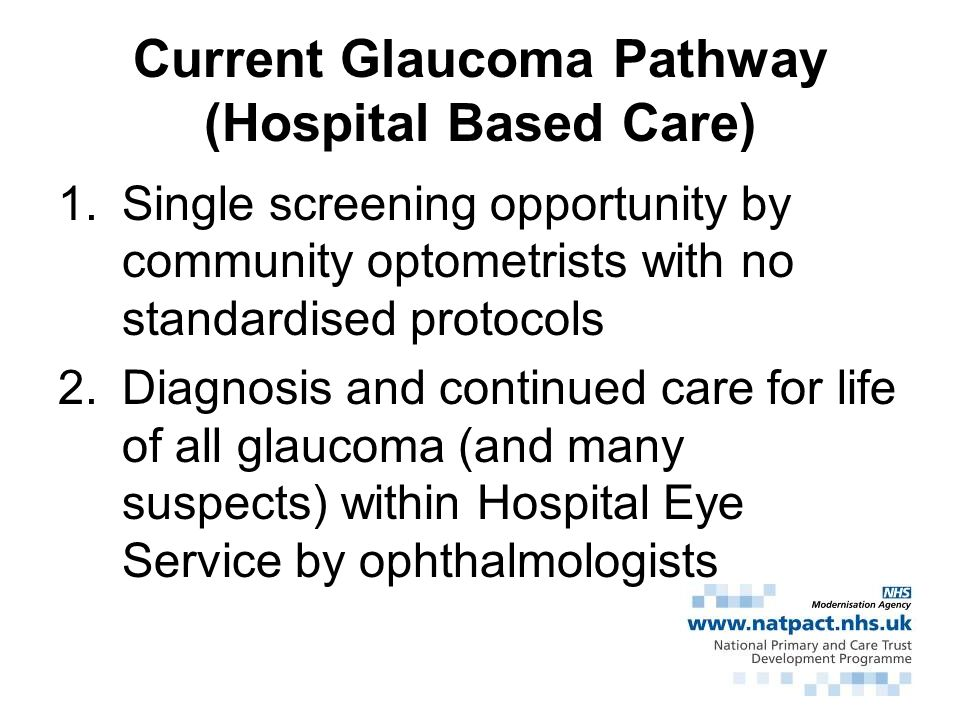 Current Glaucoma Pathway (Hospital Based Care)