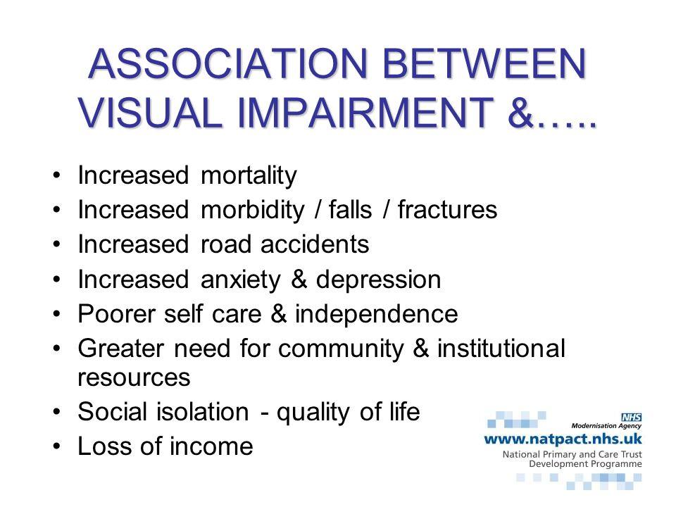 ASSOCIATION BETWEEN VISUAL IMPAIRMENT &…..