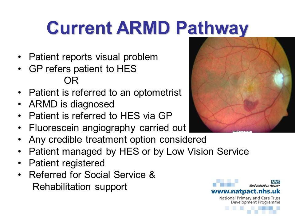 Current ARMD Pathway Patient reports visual problem