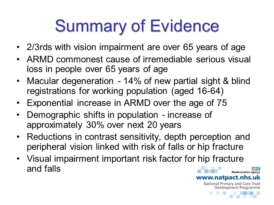 Summary of Evidence 2/3rds with vision impairment are over 65 years of age.