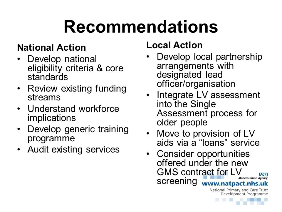 Recommendations Local Action National Action