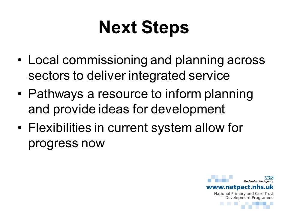 Next Steps Local commissioning and planning across sectors to deliver integrated service.
