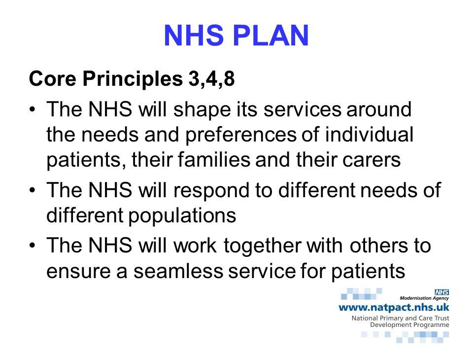 NHS PLAN Core Principles 3,4,8