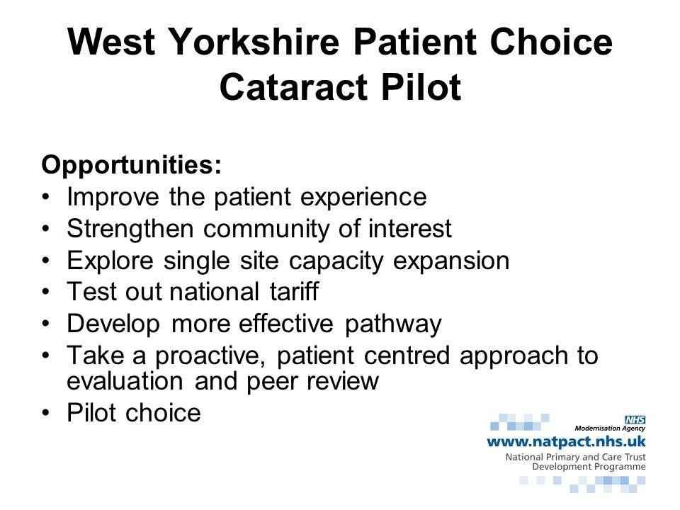 West Yorkshire Patient Choice Cataract Pilot