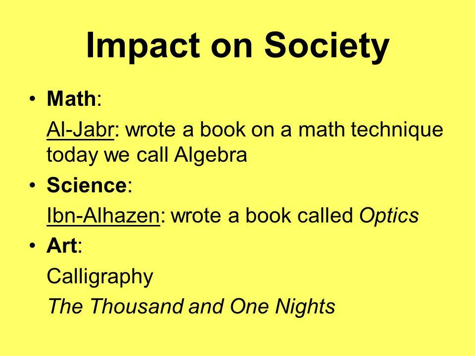 Impact on Society Math: