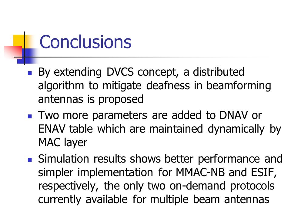 Conclusions By extending DVCS concept, a distributed algorithm to mitigate deafness in beamforming antennas is proposed.