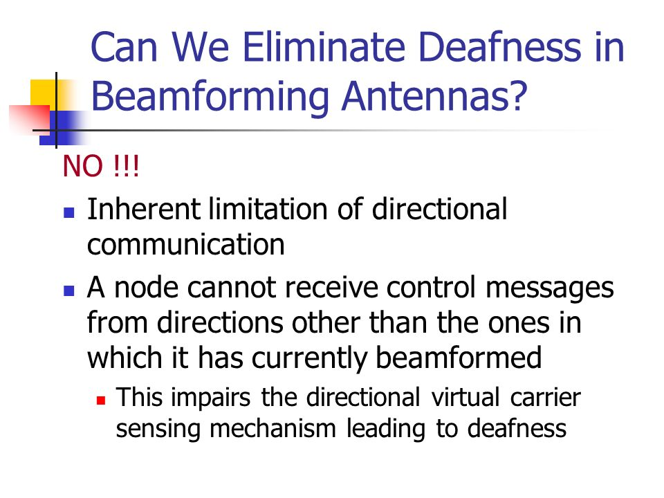 Can We Eliminate Deafness in Beamforming Antennas
