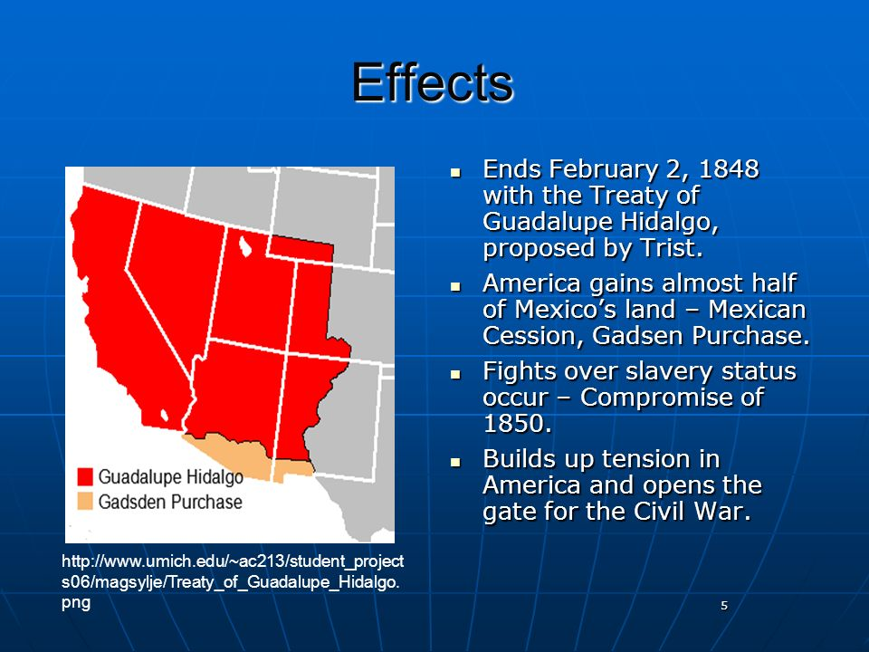 the treaty of guadalupe hidalgo Treaty of guadalupe hidalgo: treaty of guadalupe hidalgo, (feb 2, 1848), treaty between the united states and mexico that ended the mexican war it was signed at villa de guadalupe hidalgo, which is a northern neighbourhood of mexico city.