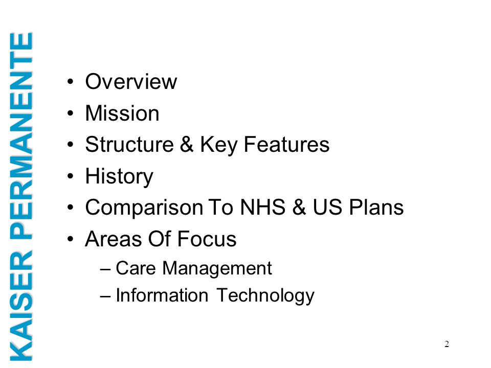 Structure & Key Features History Comparison To NHS & US Plans