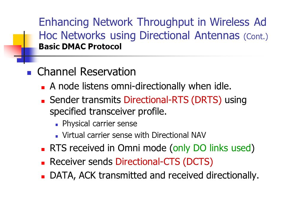 Enhancing Network Throughput in Wireless Ad Hoc Networks using Directional Antennas (Cont.) Basic DMAC Protocol