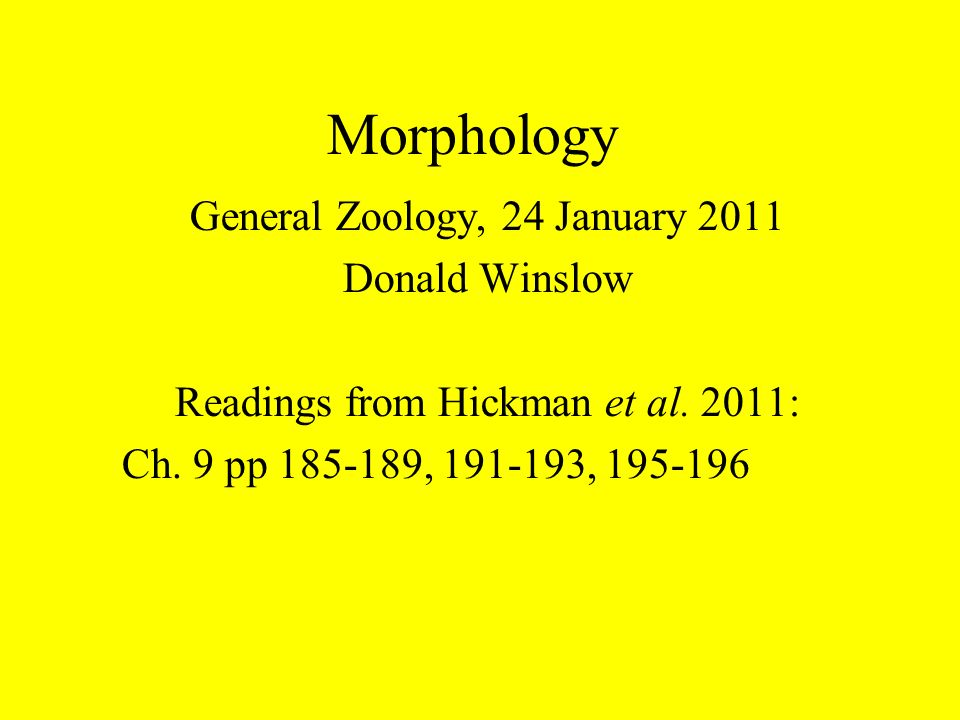 Morphology General Zoology, 24 January 2011 Donald Winslow