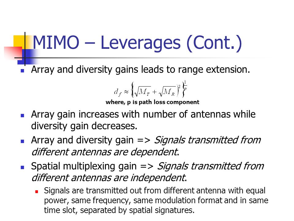 MIMO – Leverages (Cont.)