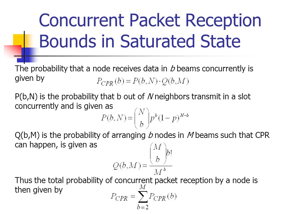 Concurrent Packet Reception Bounds in Saturated State