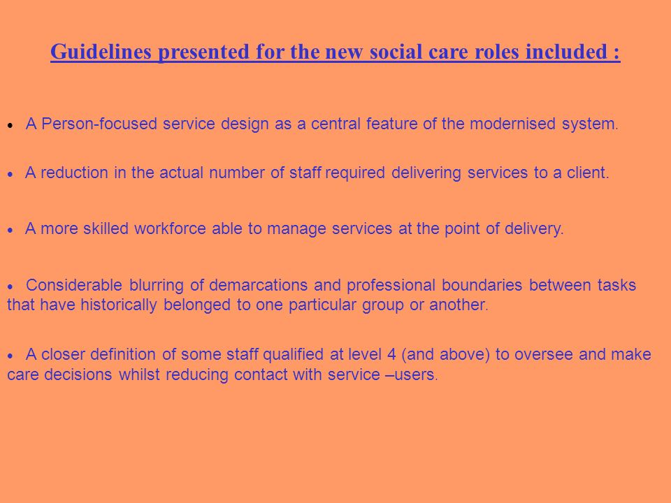 Guidelines presented for the new social care roles included :