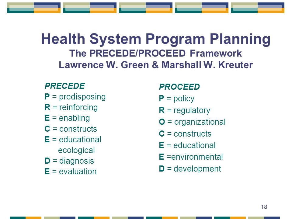Health System Program Planning The PRECEDE/PROCEED Framework Lawrence W. Green & Marshall W. Kreuter