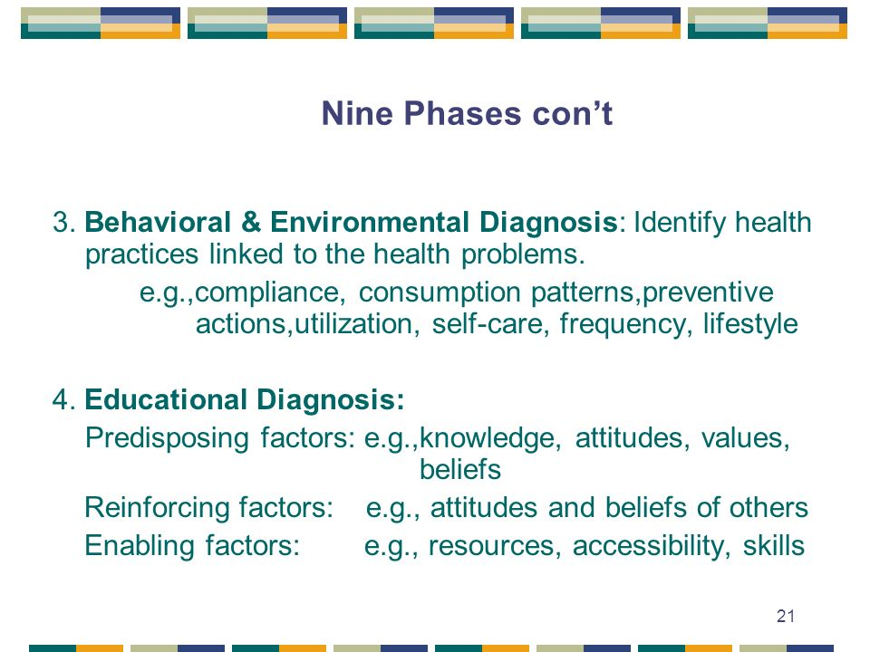 Nine Phases con't 3. Behavioral & Environmental Diagnosis: Identify health practices linked to the health problems.