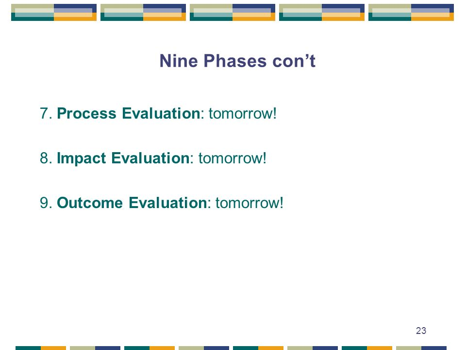 Nine Phases con't 7. Process Evaluation: tomorrow!