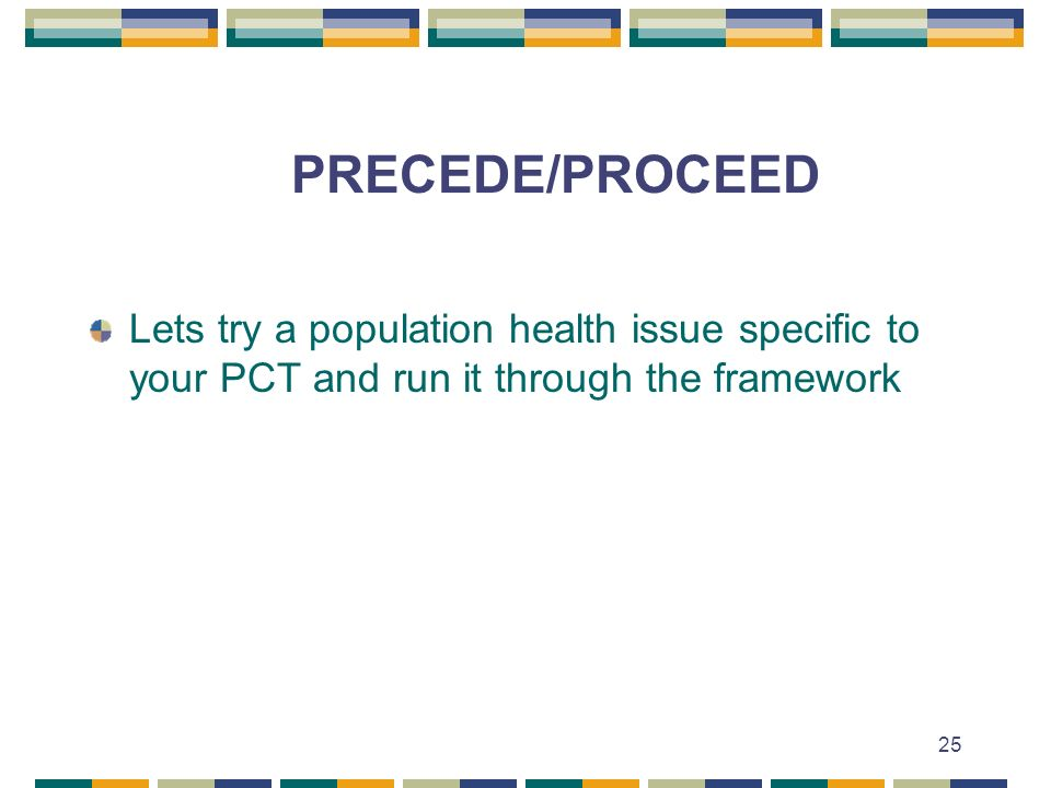 PRECEDE/PROCEED Lets try a population health issue specific to your PCT and run it through the framework.