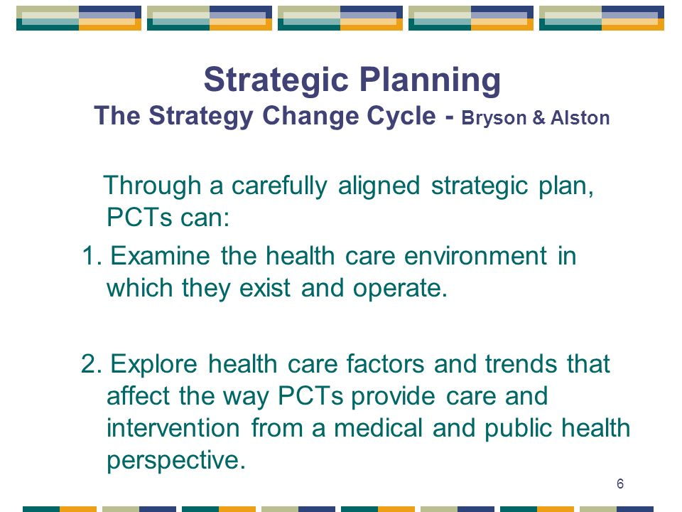 Strategic Planning The Strategy Change Cycle - Bryson & Alston