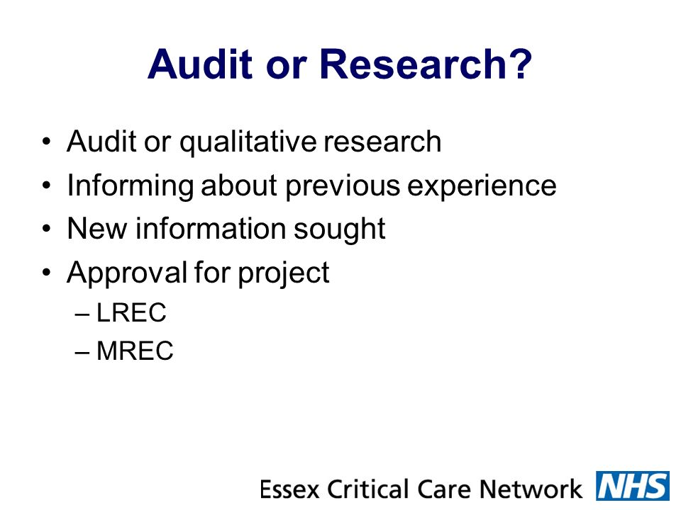 Audit or Research Audit or qualitative research