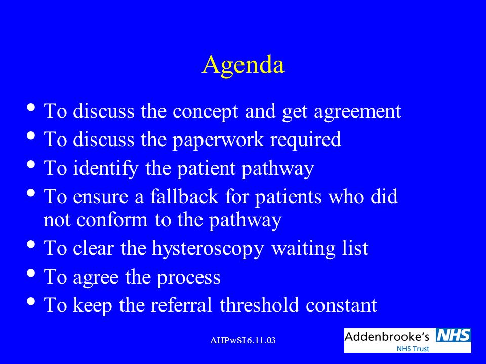 Agenda To discuss the concept and get agreement