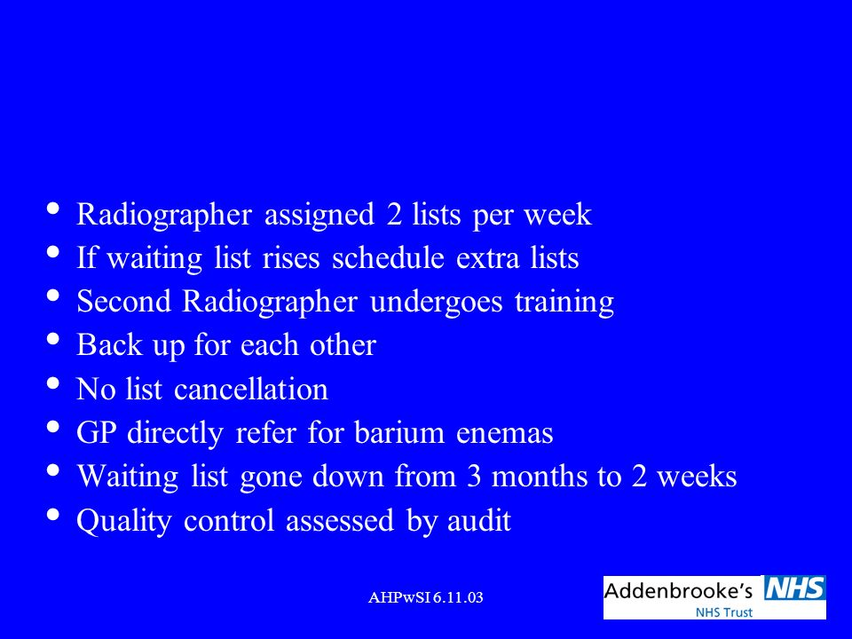 Radiographer assigned 2 lists per week