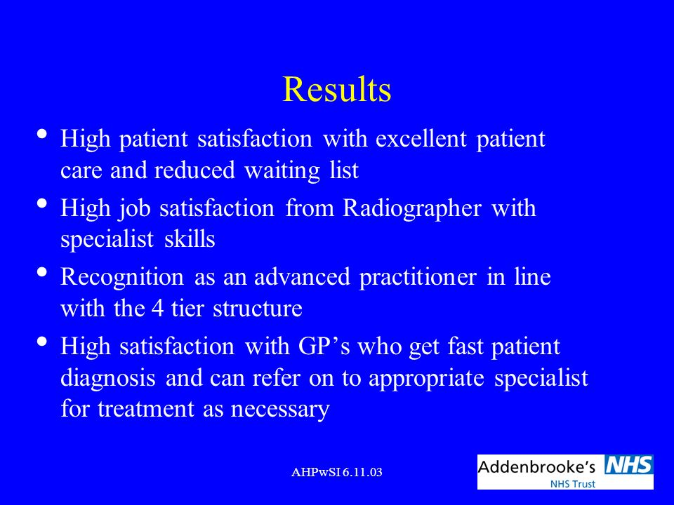Results High patient satisfaction with excellent patient care and reduced waiting list.