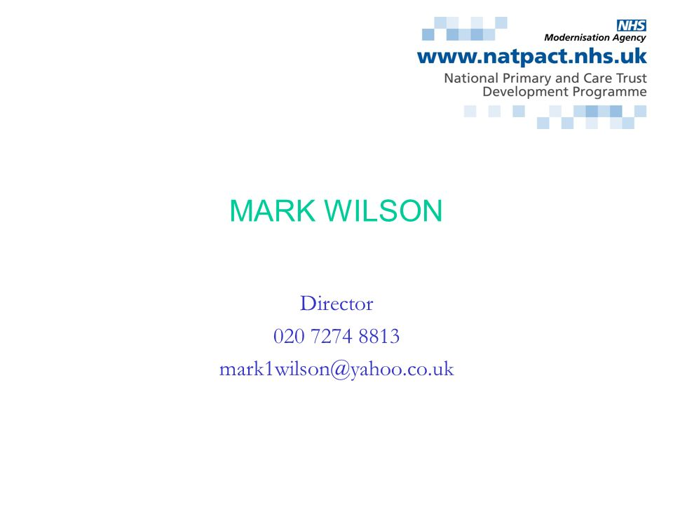 Director 020 7274 8813 mark1wilson@yahoo.co.uk