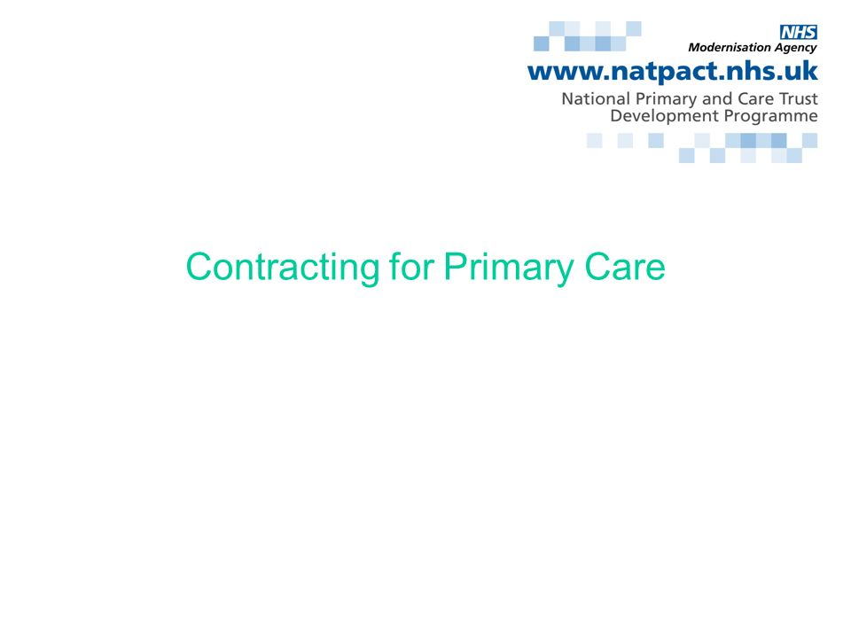 Contracting for Primary Care